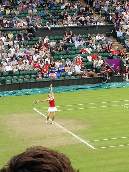 Sharapova serves leading in the 2nd set and is broken, but she breaks back to win the set and match