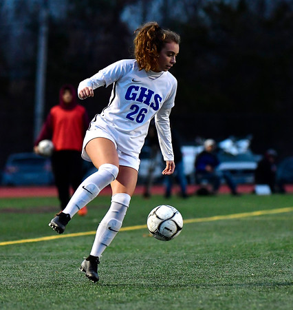 11/23/2019 Mike Orazzi | StaffrGlastonbury High School's Caroline Kearns (26) during the Class LL Girls State Soccer Tournament at Veterans Stadium in New Britain Saturday evening. Glastonbury defeated Southington 1-0. r