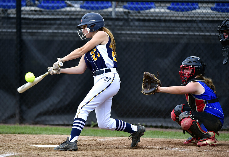 7/25/2019 Mike Orazzi | Staff Connecticut's Avery Falco (27) during the Eastern Regional Softball Tournament at Breen Field in Bristol on Thursday.