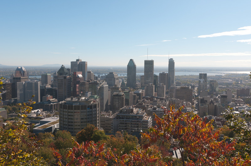Aerial view of the Montreal skyline at day - Quebec, Canada