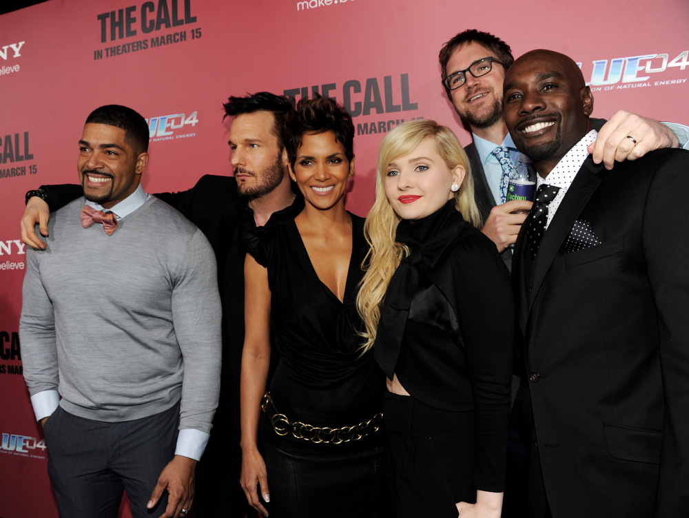 """. Actors David Otunga, Michael Eklund, Halle Berry, Abigail Breslin, director Brad Anderson and actor Morris Chestnut arrive at the premiere of Tri Star Pictures\' \""""The Call\"""" at the Arclight Theatre on March 5, 2013 in Los Angeles, California.  (Photo by Kevin Winter/Getty Images)"""