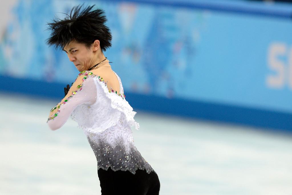 . SOCHI, RUSSIA - FEBRUARY 14: Gold medalist Yuzuru Hanyu of Japan during the men\'s figure skating free skate. Sochi 2014 Winter Olympics on Friday, February 14, 2014. (Photo by AAron Ontiveroz/The Denver Post)