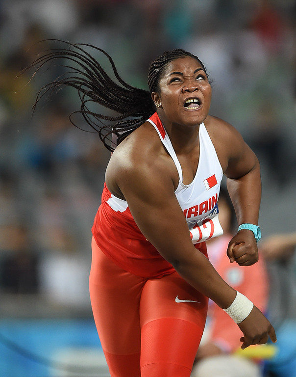 . Bahrain\'s Noora Salem Jasim competes in the final of the women\'s shot put athletics event during the 17th Asian Games at the Incheon Asiad Main Stadium in Incheon on September 27, 2014.  PHILIPPE LOPEZ/AFP/Getty Images