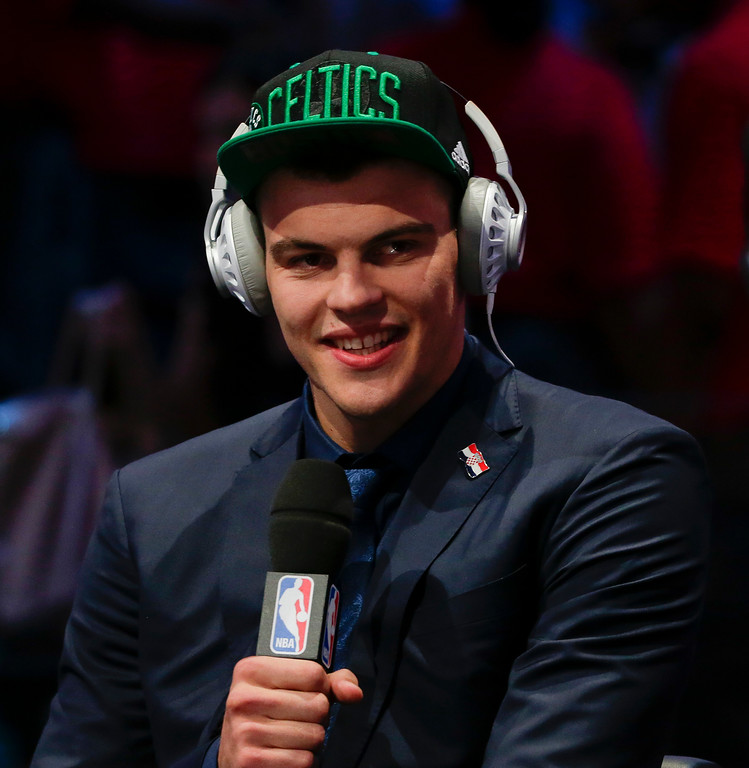 . Ante Zizic answers questions during an interview after being selected 23rd overall by the Boston Celtics during the NBA basketball draft, Thursday, June 23, 2016, in New York. (AP Photo/Frank Franklin II)