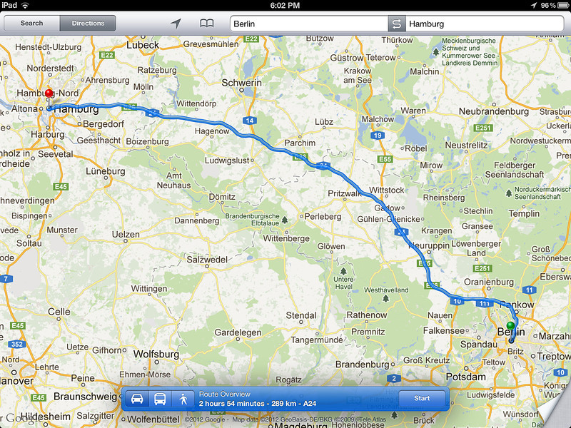 2012-6-1 ––– I made several maps for our trip to Berlin so I would know what roads we were traveling between major cities, but more importantly, the distance and how long we needed to plan for travel time. Berlin to Hamburg was 2 hours 54 minutes to cover 289 km on the autobahn.