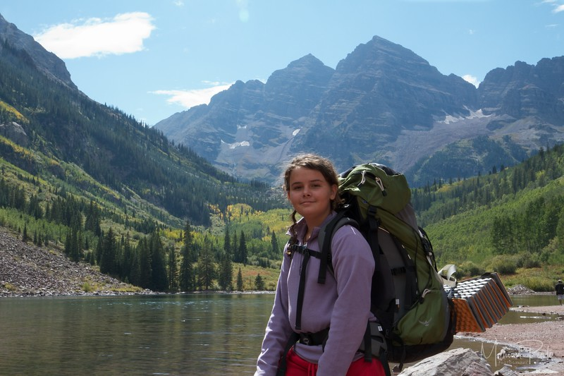 Maya at the trailhead - happy to be here!  Her first Backcountry camping trip.