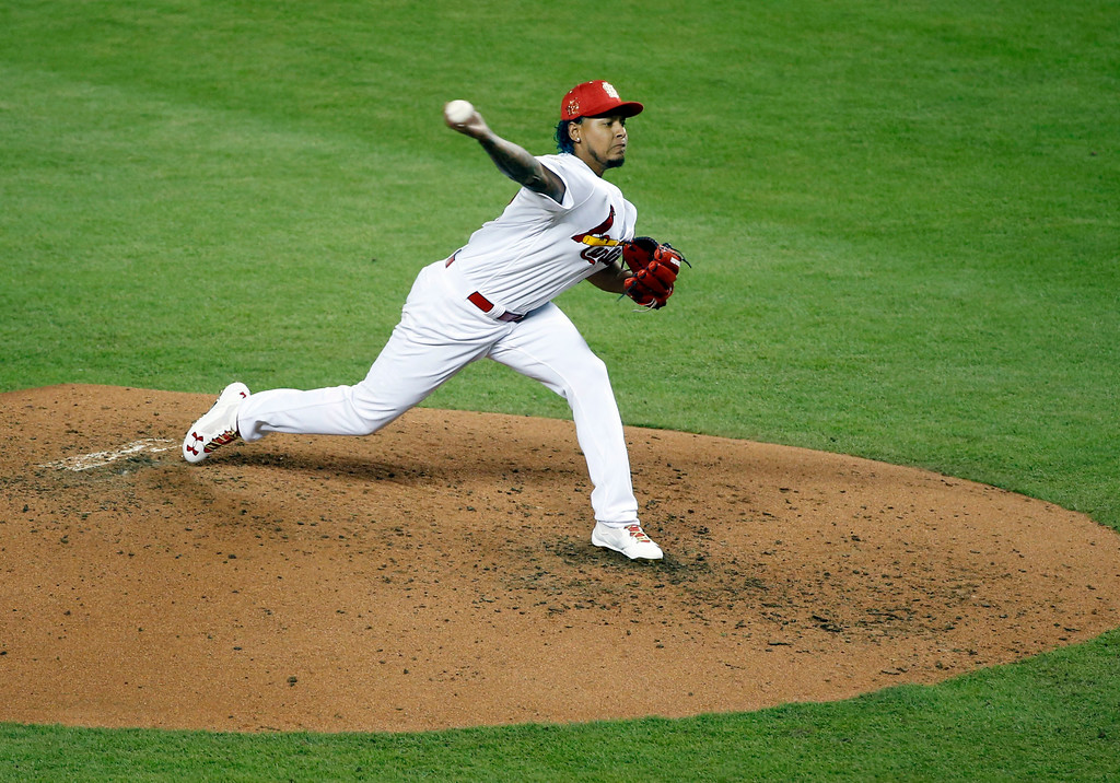 . National League\'s St. Louis Cardinals pitcher Carlos Martĺnez (18), delivers a pitch, during the third inning at the MLB baseball All-Star Game, Tuesday, July 11, 2017, in Miami. (AP Photo/Wilfredo Lee)
