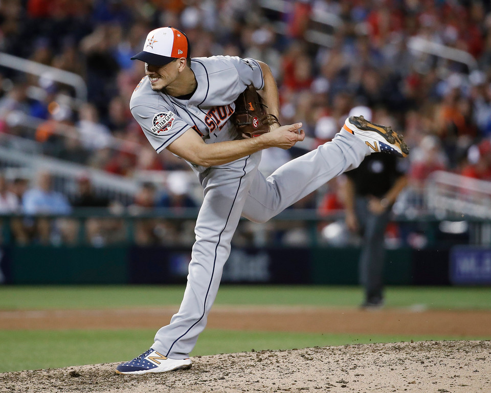 . Houston Astros pitcher Charlie Morton (50) throws in the eighth inning during the Major League Baseball All-star Game, Tuesday, July 17, 2018 in Washington. (AP Photo/Alex Brandon)