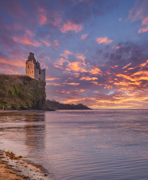 The Ruins at castle Greenan by Ayr Scotland at Sunset.