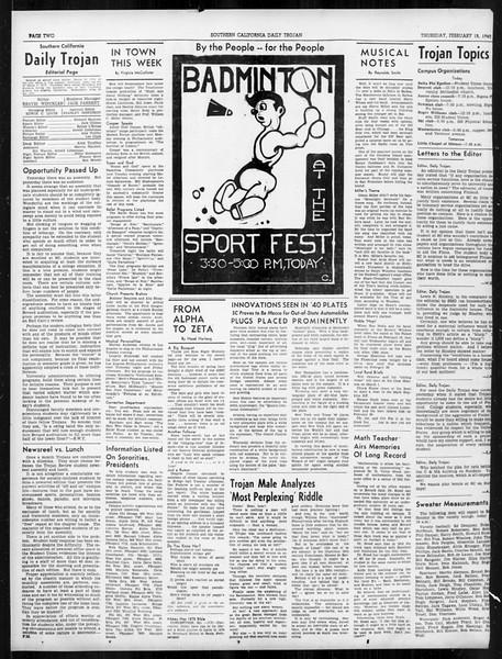 Daily Trojan, Vol. 31, No. 85, February 15, 1940