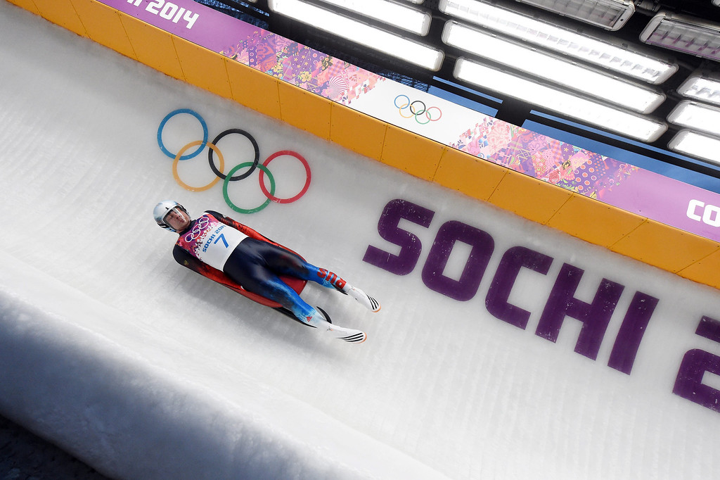 . Albert Demchenko of Russia speeds down the track in his third run in the men\'s singles Luge at the Sanki Sliding Center at the Sochi 2014 Olympic Games, Krasnaya Polyana, Russia, 09 February 2014.  EPA/TOBIAS HASE