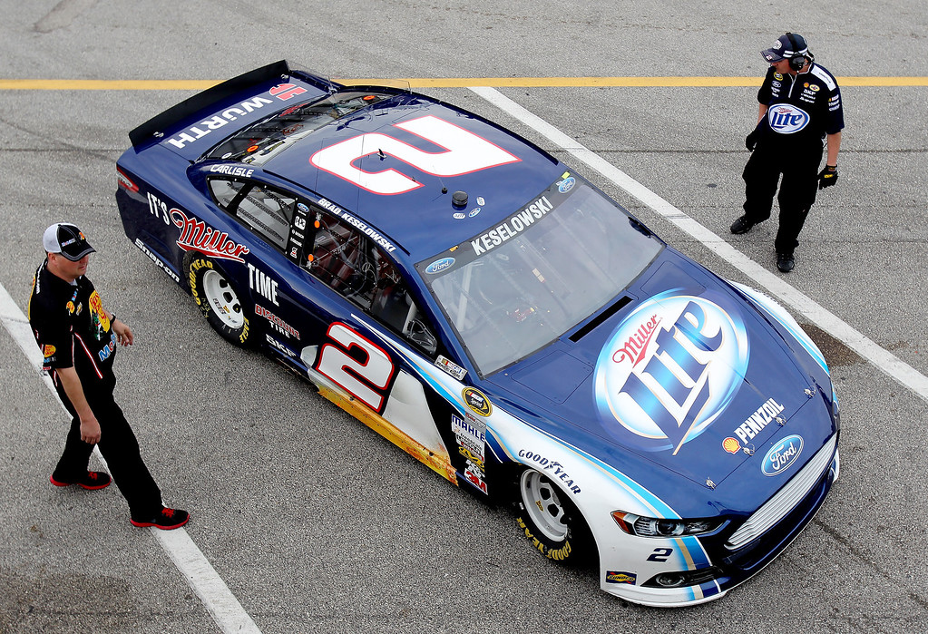 . DAYTONA BEACH, FL - FEBRUARY 20:  Brad Keselowski, driver of the #2 Miller Lite Ford, pulls into the garage area during practice for the NASCAR Sprint Cup Series Daytona 500 at Daytona International Speedway on February 20, 2013 in Daytona Beach, Florida.  (Photo by Todd Warshaw/Getty Images)