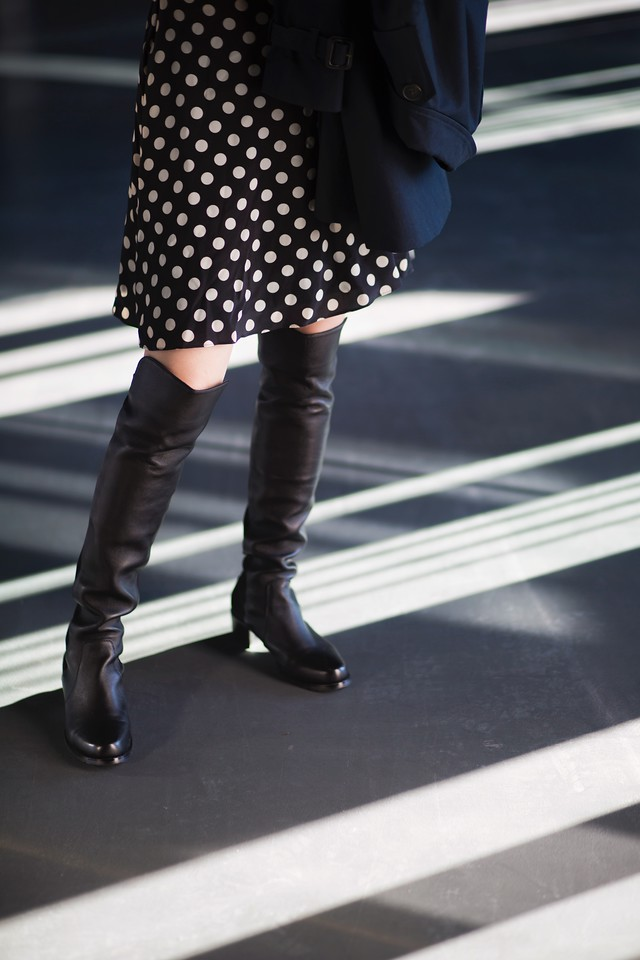 alexis polka dot dress stuart weitzman over the knees boots