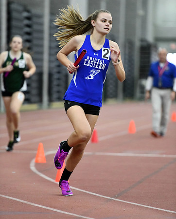 2/1/2020 Mike Orazzi | StaffrBristol Eastern's Fiona Gallagher in the girls 4x800 Meter Relay during the CCC Indoor Track & Field Championships at the Floyd Little Athletic Center in New Haven on Saturday.