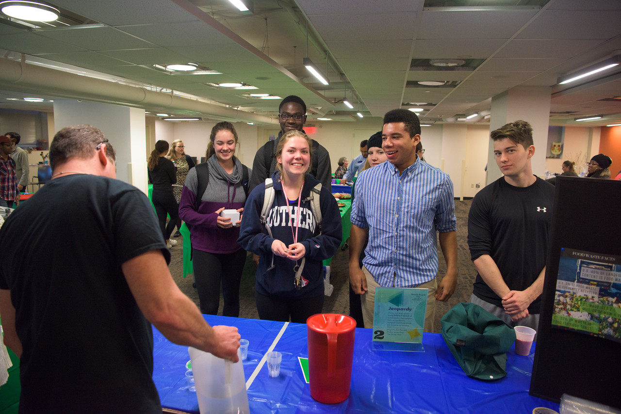 Students at a science booth