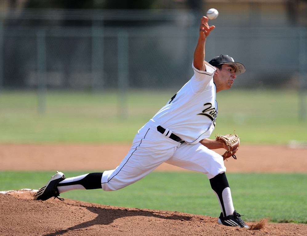 . Northview starting pitcher Niko Castaneda throws to the plate in the first inning of a CIF-SS prep second round playoff baseball game against South (Torrance) at Northview High School on Tuesday, May 21, 2013 in Covina, Calif. Northview won 5-4.  (Keith Birmingham Pasadena Star-News)