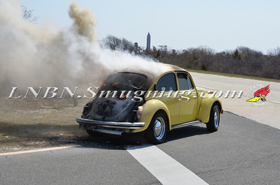 Wantagh F.D. Car Fire Jones Beach E/B Bay Drive west of Field 10 4-28-13