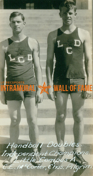 """HANDBALL Independent Doubles Champions  Little Campus """"A"""" Dormitory  C. E. McCarter & Charles Pilgrim"""
