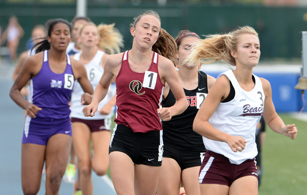 . Oaks Christian\'s Julia Sullivan competes in the division 4 800 meters race during the CIF Southern Section track and final Championships at Cerritos College in Norwalk, Calif., Saturday, May 24, 2014.   (Keith Birmingham/Pasadena Star-News)