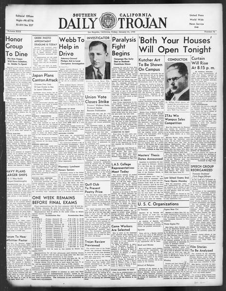 Daily Trojan, Vol. 29, No. 72, January 21, 1938