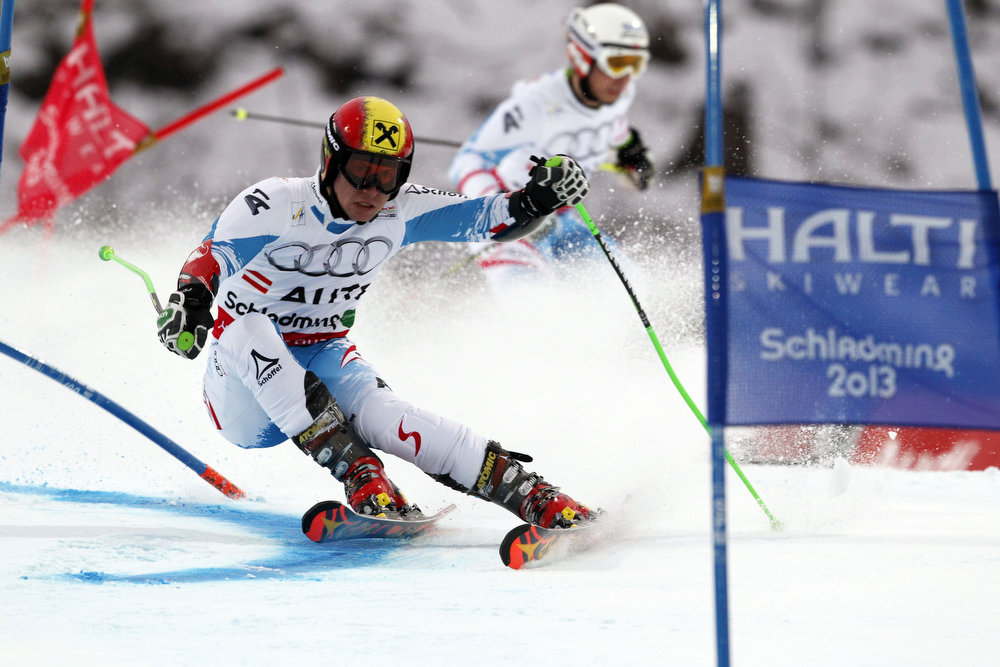 Description of . Marcel Hirscher of Austria competes during the Audi FIS Alpine Ski World Championships Nation\'s Team Event on February 12, 2013 in Schladming, Austria. (Photo by Christophe Pallot/Agence Zoom/Getty Images)