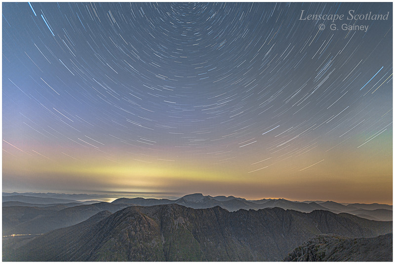 Star trails over Ben Nevis, from Stob Coire nam Beith