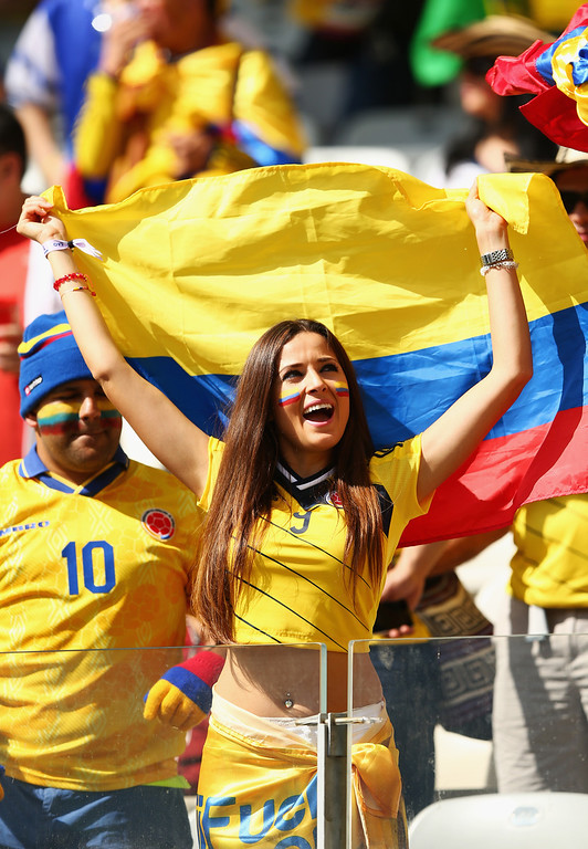 . Colombia fans show support prior to the 2014 FIFA World Cup Brazil Group C match between Colombia and Greece at Estadio Mineirao on June 14, 2014 in Belo Horizonte, Brazil.  (Photo by Quinn Rooney/Getty Images)