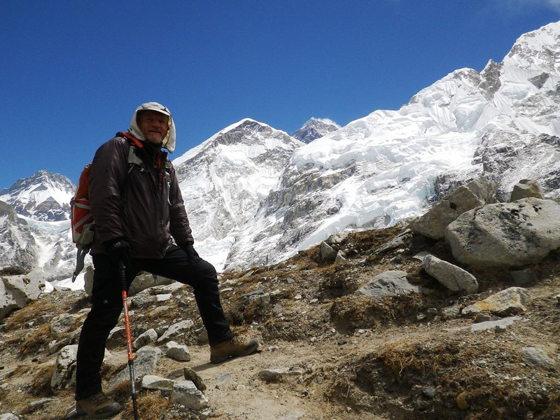 Approaching Everest Base Camp. On the horizon just tip of Mount Everest (29,035ft = 8.850m) is visible.