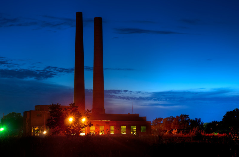 22 July 2011 : I thought it was about time to get some new images, so I went out last night to get some shots just after sunset.  I didn't find a lot that appealed to me, but for years now I have been meaning to get a shot of these smoke stacks near the Elgin Mental Health Center.  My vision for them were to either have a really orange sunset silouetting them or to have really stormy clouds around then - sort of like the cover of the Pink Floyd album - Animals.  I'll probably still try to get that, but this will do for now.