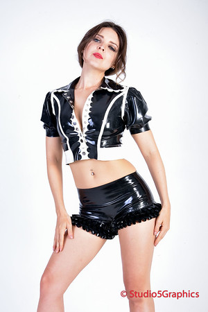 Rebel Black latex booty dress and top SFW