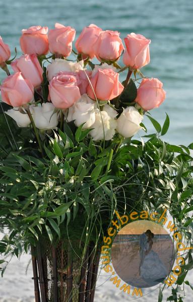 Pink and Cream Rose Arrangements