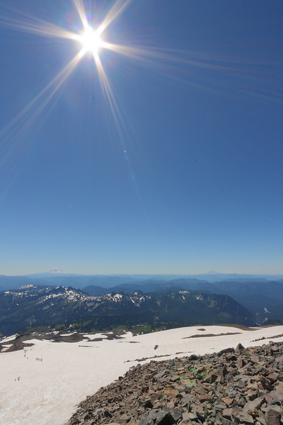 On the way to Muir - nice vista with Mt. Adams and Mt. St. Helens in the distance
