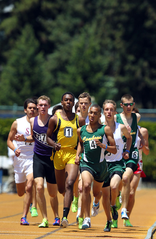 . Athletes compete in the boys 1600 meter final at the North Coast Section Meet of Champions at Cal\'s Edwards Stadium in Berkeley, Calif., on Saturday, May 25, 2013. (Anda Chu/Bay Area News Group)