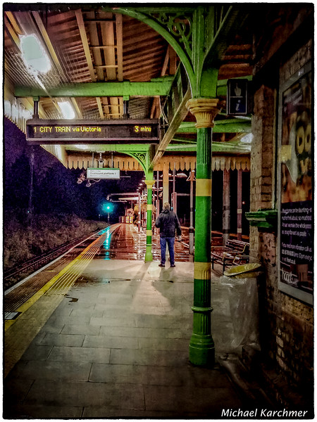 Rainy Night at the Train Platform, Southfield Station