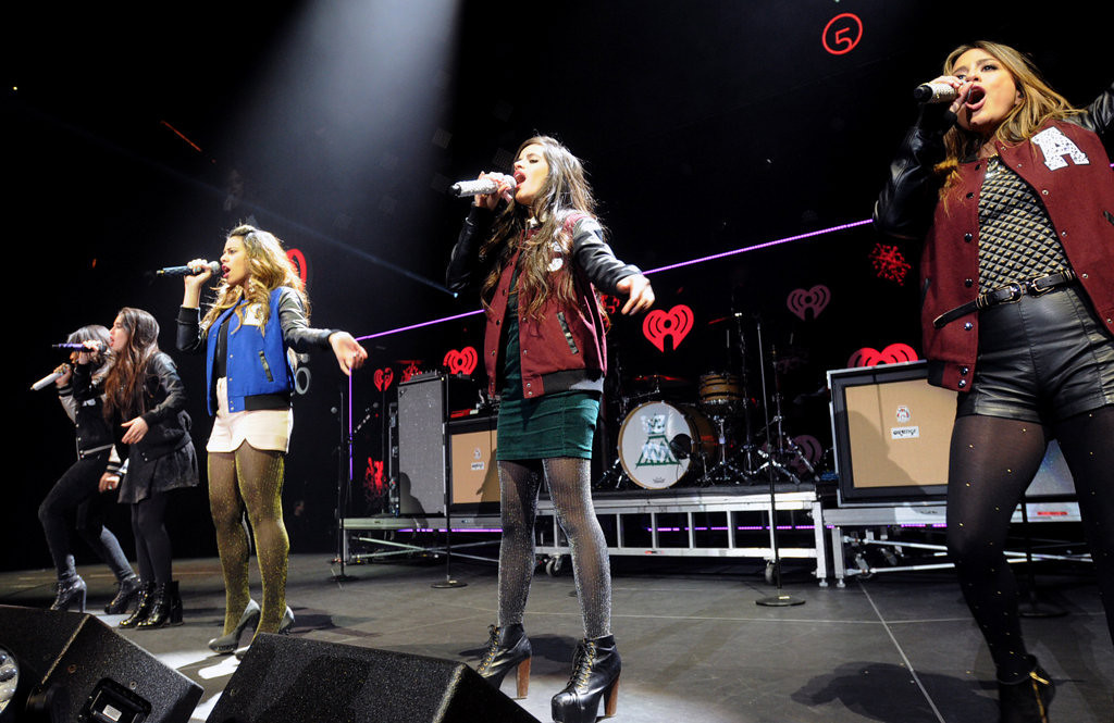 ". Fifth Harmony performs at Jingle Ball. The American girl group formed on the second season of ""The X Factor.\"" 