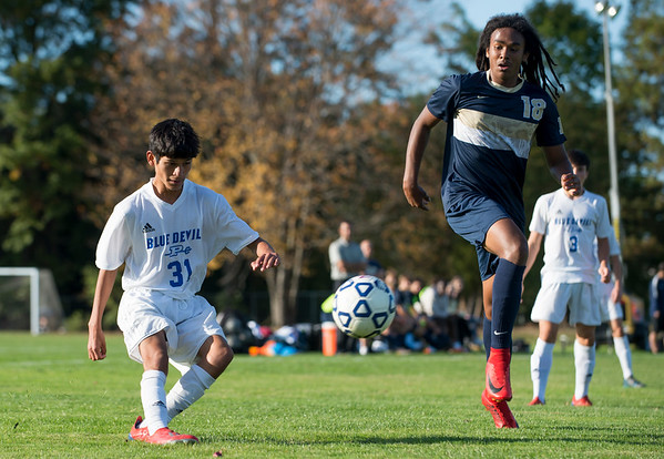 10/15/19 Wesley Bunnell | StaffrrPlainville boys soccer defeated host Newington 2-1 on Tuesday afternoon. Plainville's Jordan Torres (31) Mannash Dalomba (18).