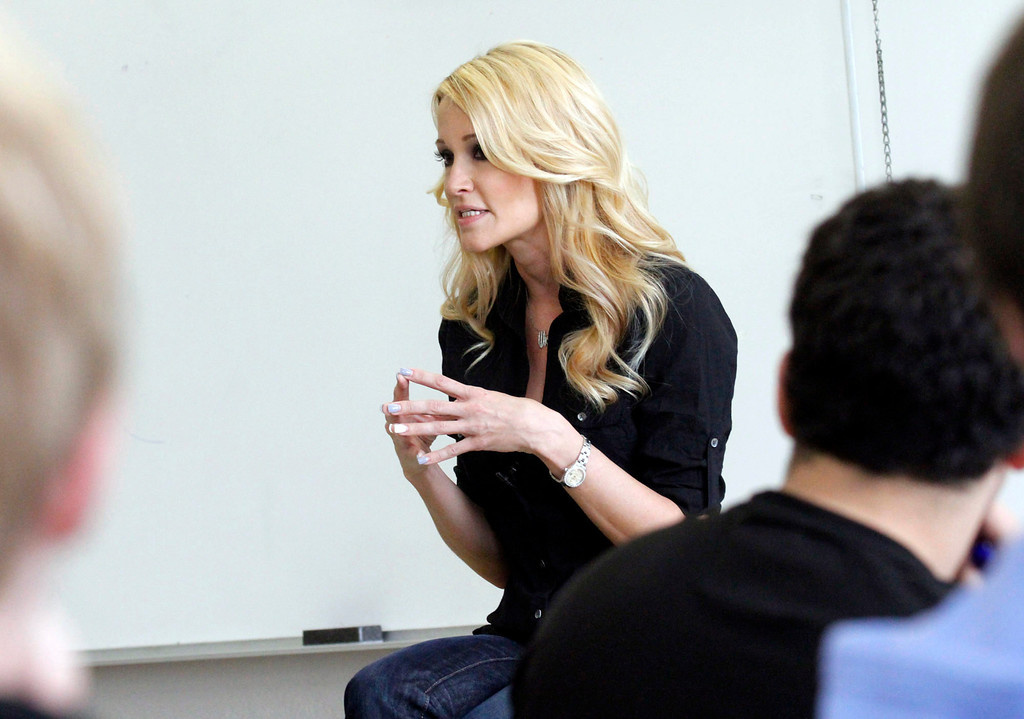 """. Jessica Drake, Sex Educator and Adult Film Star, speaks in Professor Hugo Schwyzer\'s \""""Navigating Pornography\"""" class at Pasadena City College, in Pasadena, Wednesday, March 20, 2013. (Correspondent Photo by James Carbone/SXCITY)"""