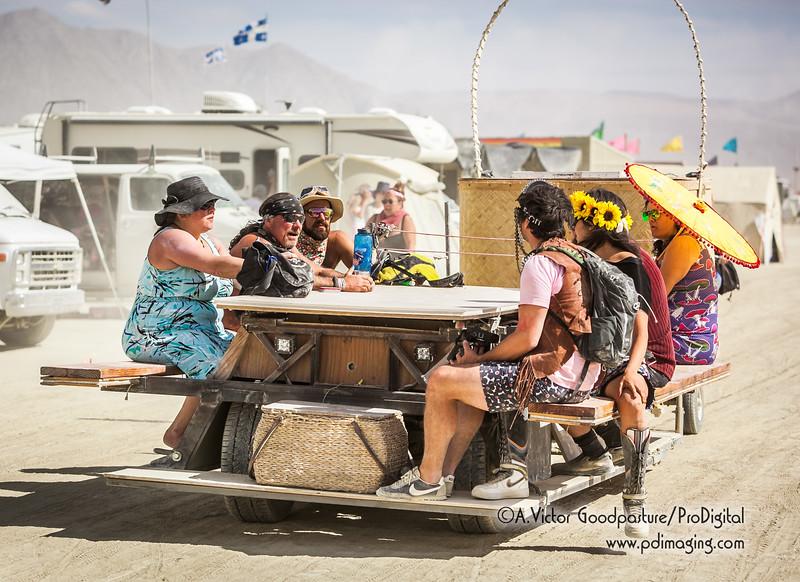 A picnic table art car.