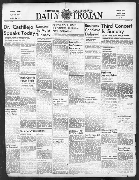 Daily Trojan, Vol. 29, No. 91, March 04, 1938
