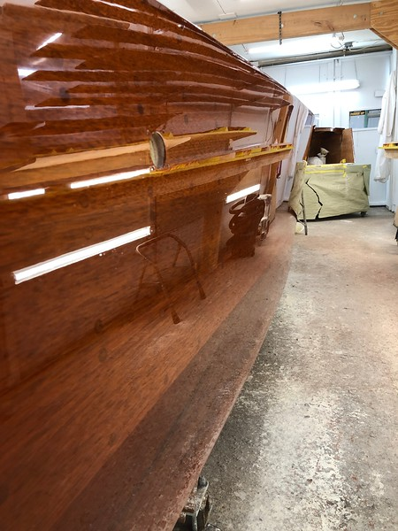 Starboard side finish, three more coats to go.