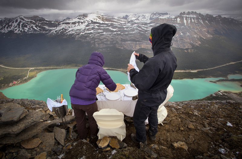 Setting Up, Crowfoot Mountain Engagement Session, Banff National Park, Alberta, Canada.