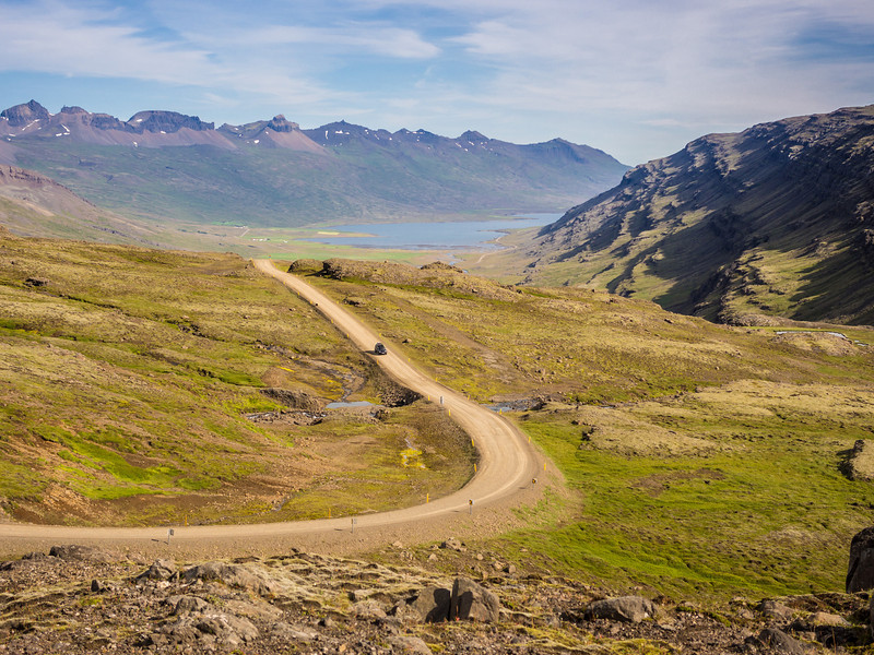 "The ""shortcut"" to Egilstaddir with Berufjordur Fjord in the background."