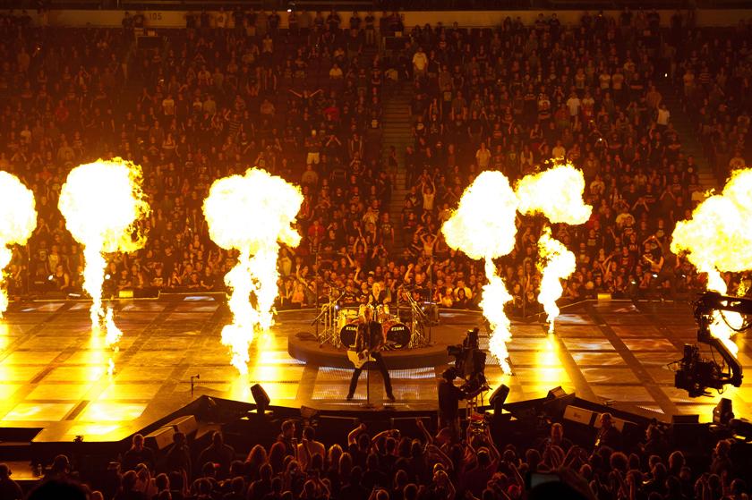 "Description of . Metallica heats up the crowd in ""Metallica: Through the Never."""