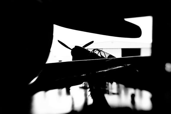 Foreground:  P-47 Thunderbolt<br /> Background:  P-40 Warhawk