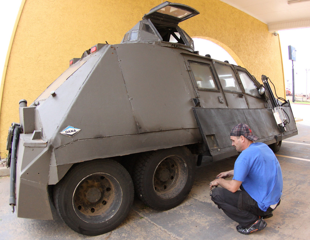 . Storm Chaser with TIV-2m(Tornado Intercept Vehicle) driver Jonathan Morrison as they gets ready to start on another tornado IMAX film with the National Geographic in El Reno, Oklahoma Friday April 25,2014.April  26,2014.