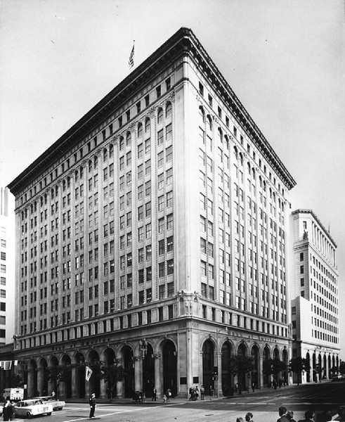 Exterior view of the Bank of America building, ca.1955