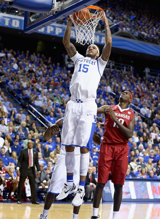 . Willie Cauley-Stein #15 of the Kentucky Wildcats dunks the ball during the game against the Arkansas Razorbacks at Rupp Arena on February 27, 2014 in Lexington, Kentucky.  (Photo by Andy Lyons/Getty Images)