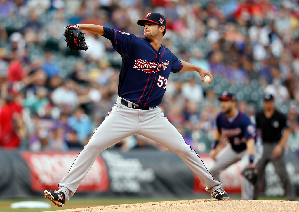 . Minnesota Twins starting pitcher Kris Johnson throws to the plate against the Colorado Rockies during the first inning of a baseball game on Friday, July 11, 2014, in Denver. (AP Photo/Jack Dempsey)