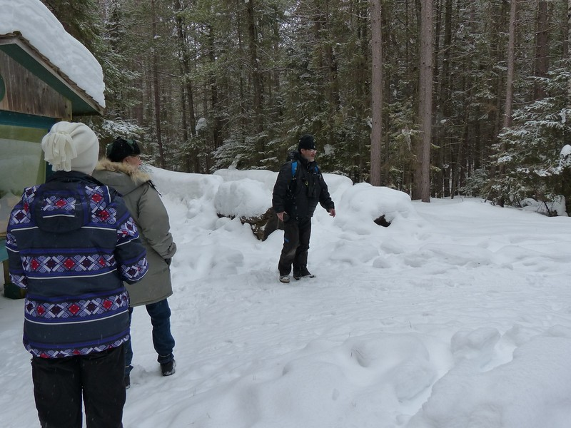Katsu Sakuma leading interpretive tour along Logging Museum trail