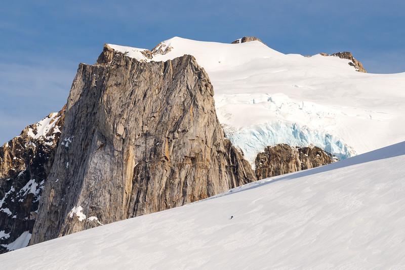 Seb Ramsay descending open slopes, East Greenland